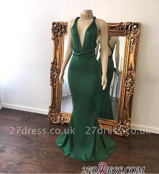 Long V-Neck Mermaid Green Beautiful Floor-Length Evening Dress UK BA7598