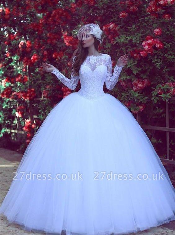 Modest Lace Appliques White Wedding Dress Long Sleeve Floor-length