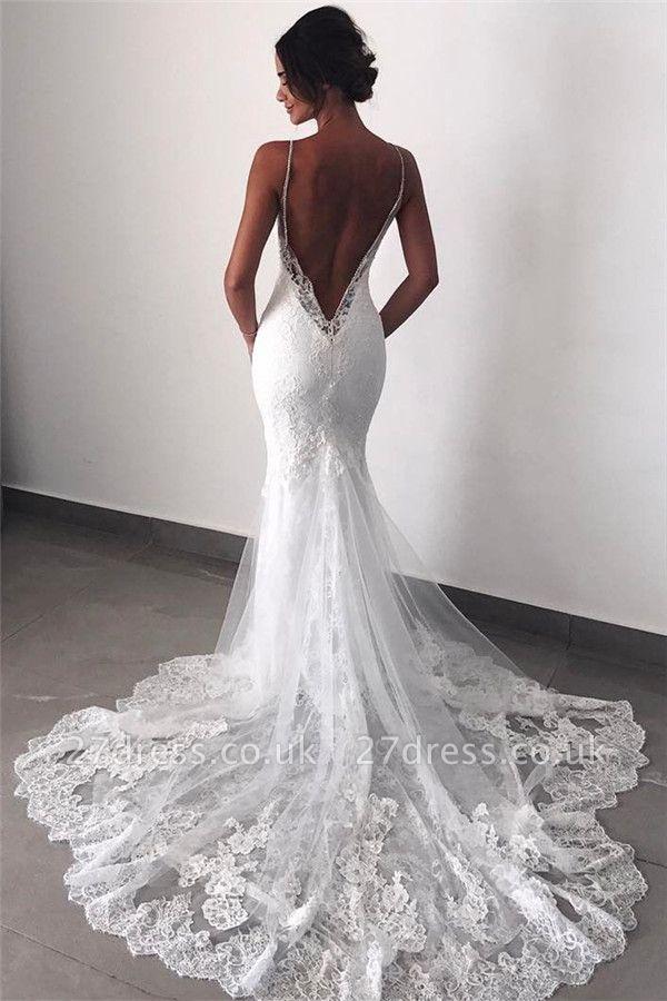 Backless Wedding Dresses UK Lace  Sexy Mermaid | Spaghetti Straps Bride Dress Cheap