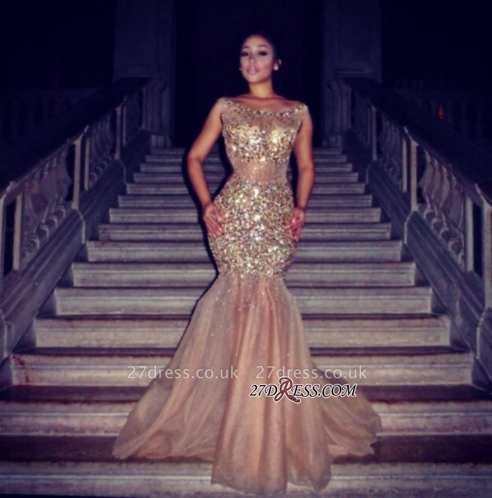 Tulle Halter Mermaid Luxury Crystal Sleeveless Prom Dress UK BA4960