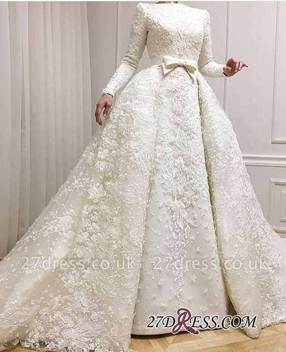 Long-Sleeves Muslim Full Lace Wedding Dresses UK Overskirt Online BA9362