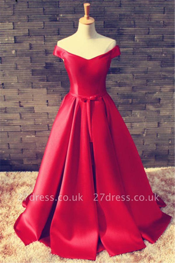 Sexy Red Off-the-shoulder Prom Dress UK Bowknot Lace-up