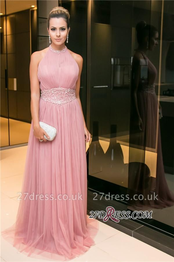 Tulle Halter Open-Back Long Candy-Pink Sleeveless Beaded Evening Dress UK