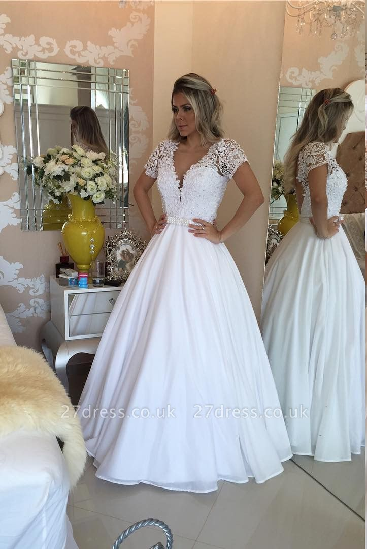 Elegant Short Sleeve Wedding Dresses UK A-Line Lace Appliques With Pearls IG006