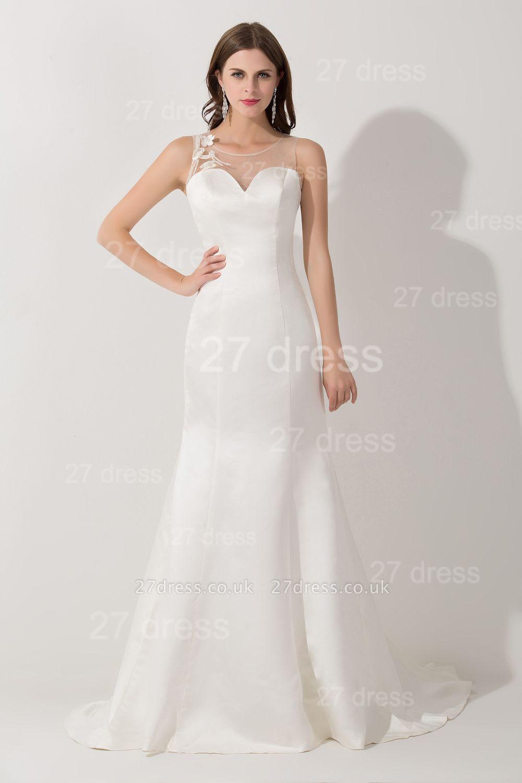 Elegant White Mermaid Illusion Evening Dress UK Pearls Bowknot Sweep Train