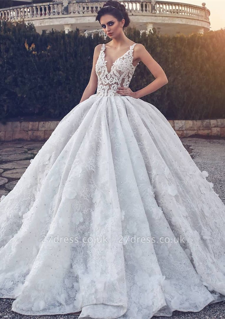 Elegant V-neck Lace Wedding Dress | Ball Gown Bridal Dress