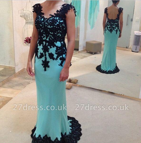 Sheath Long Black Lace Prom Dress UK Elegant Half Sleeves