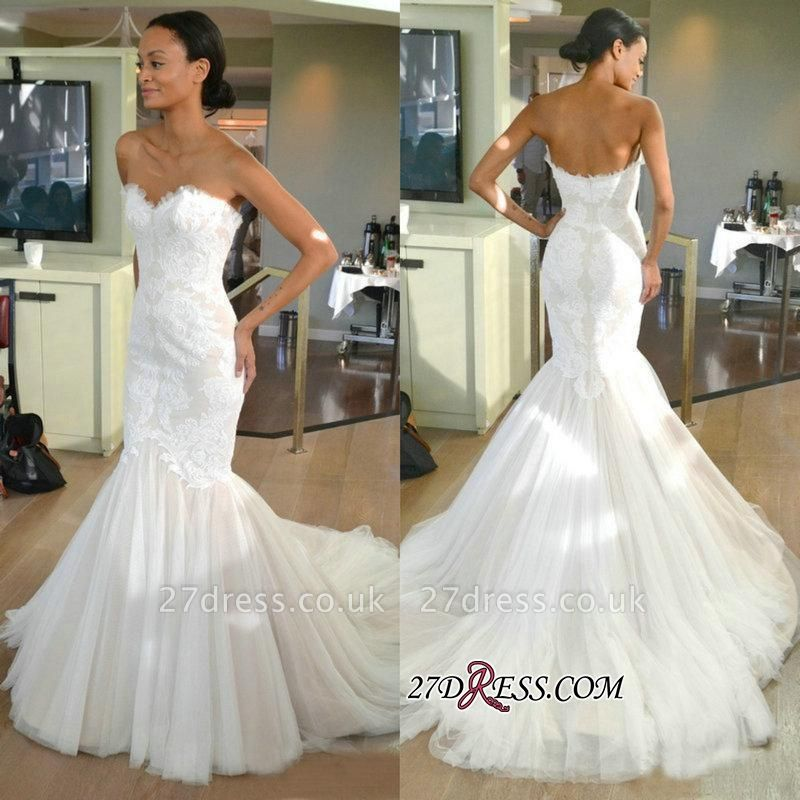 Strapless Sleeves Sexy Mermaid Lace Sweep-train Tulle Wedding Dress