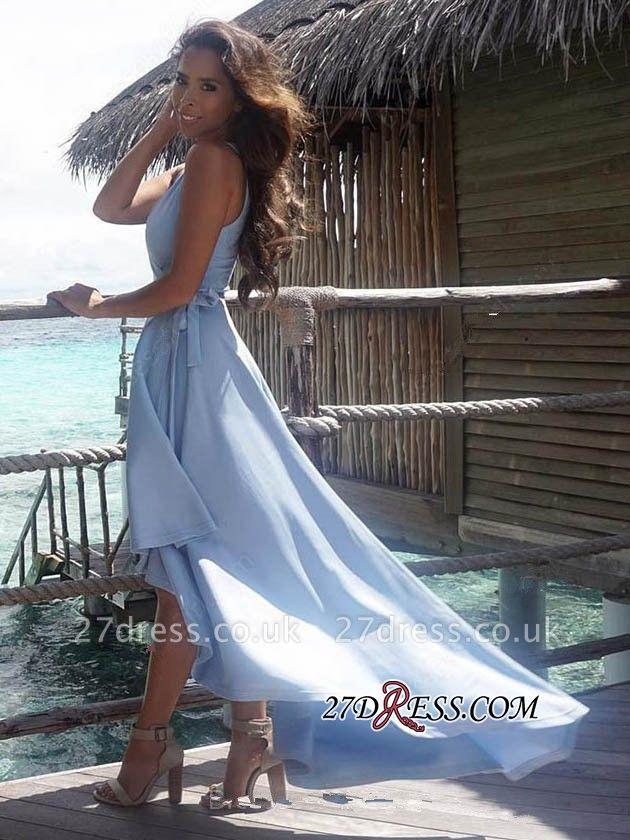Summer Sexy Hi-Lo Sleeveless V-Neck Prom Dress UK BA7197