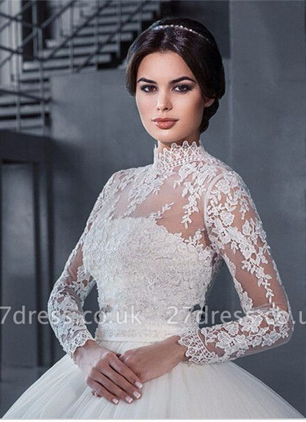 Modern High Neck Lace Appliques Wedding Dress Ball Gown Long Sleeve