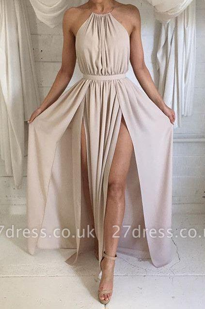 Sexy Halter Sleeveless Prom Dress UKes UK Split Floor Length Chiffon HT336