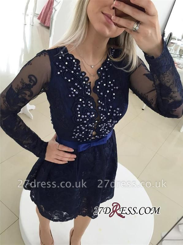 Bow Newest Beads Long-Sleeve Lace Zipper Mini Homecoming Dress UK