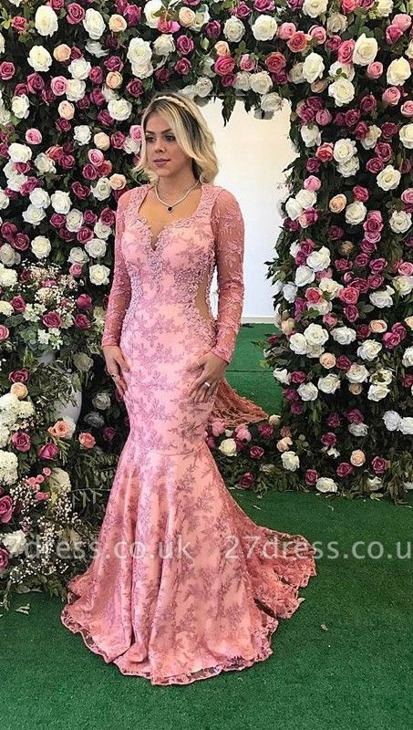 Long Sleeve Prom Dress UK   Mermaid Lace Appliques Evening Gowns BA9236