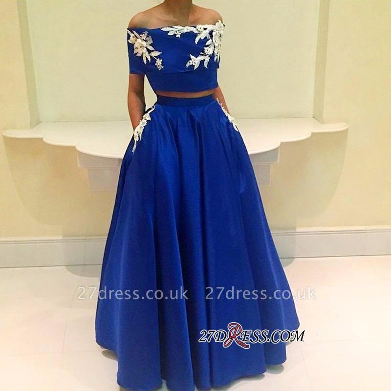 Two-Pieces Appliques Royal-Blue A-Line Off-the-Shoulder Prom Dress UK BA4634