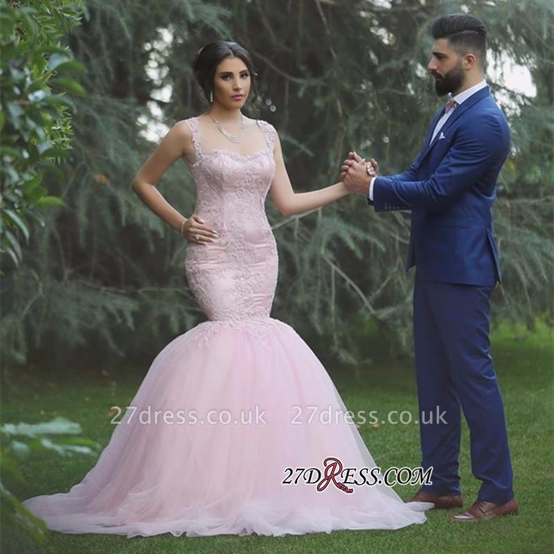 Applique Sleeveless Long Pink  Sexy Mermaid Tulle Wedding Dresses UK