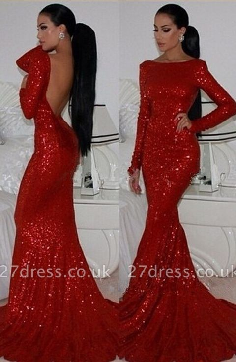 Elegant Red Mermaid Prom Dress UKes UK Long Sleeves High Neck Sparkly Evening Gowns with Sequined