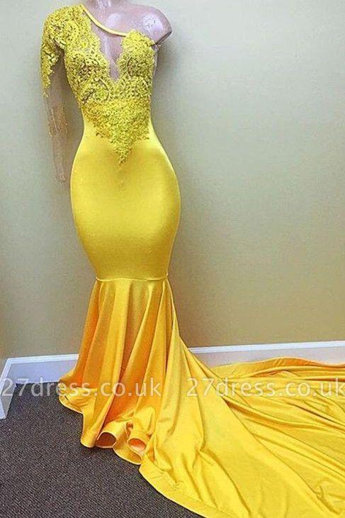 Yellow one shoulder mermaid prom Dress UK, lace evening Dress UKes UK