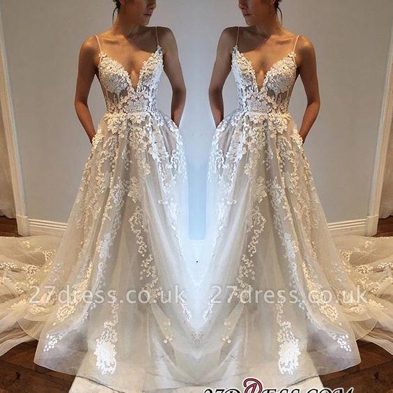 A-Line Appliques V-Neck Spaghetti-Straps Tulle Wedding Dresses UK qq0275