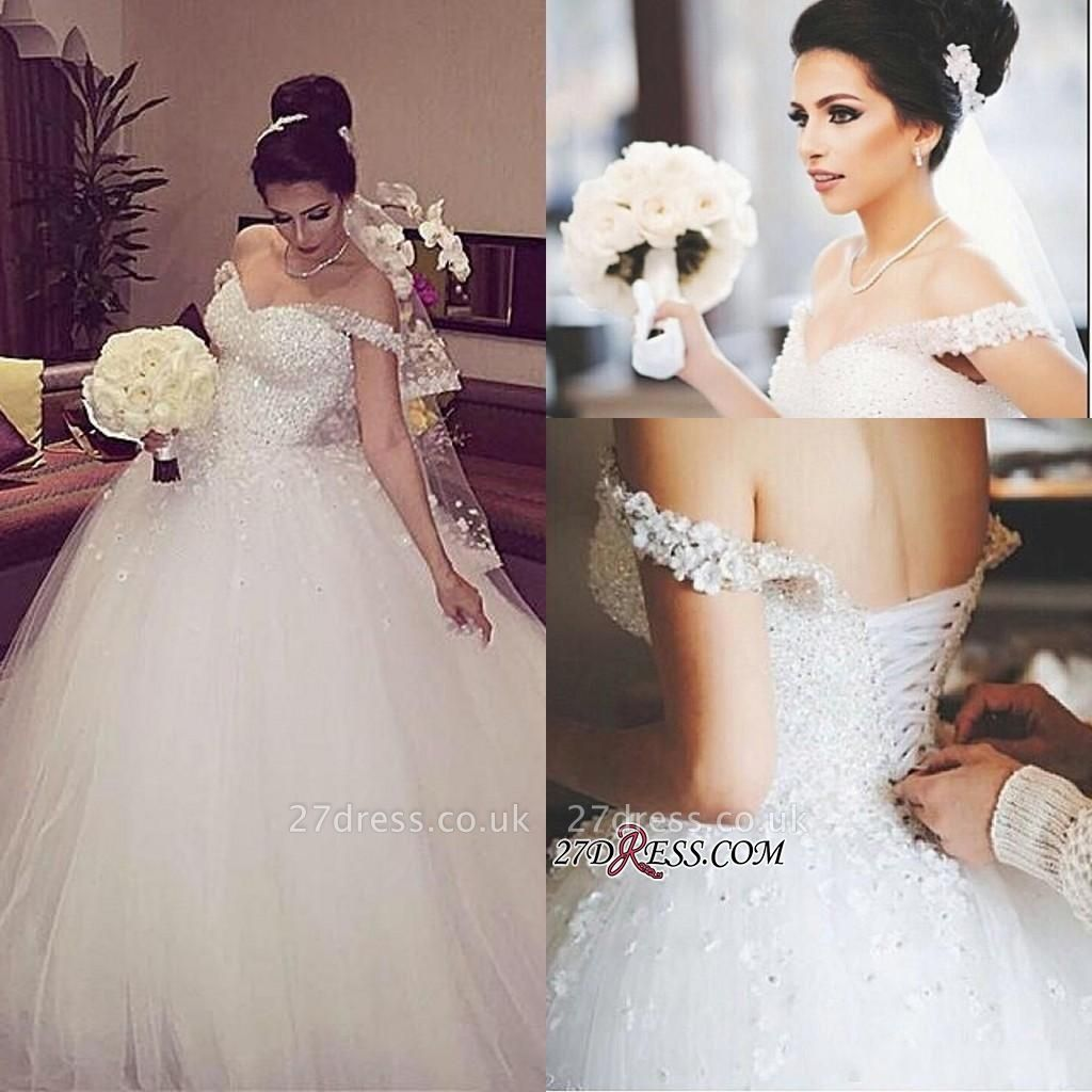 Beads Unique Off-the-shoulder Lace-up Appliques Ball-Gown Wedding Dress