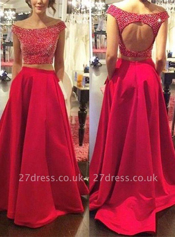 Modern Red Two Piece Prom Dress UK Off-the-shoulder Zipper SP0027