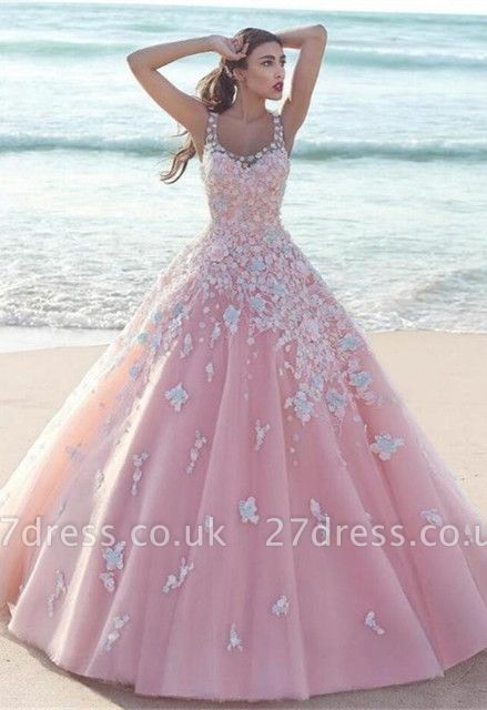 Sexy Pink Prom Dress UK |Lace Appliques Sleeveless Evening Gowns