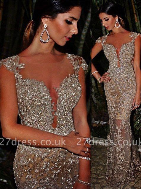 Luxury Cap Sleeve Mermaid Evening Dress UK Lace Sequins Appliques