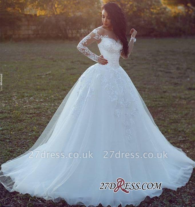 Long-Sleeves Tulle Ball Appliques Elegant Wedding Dress