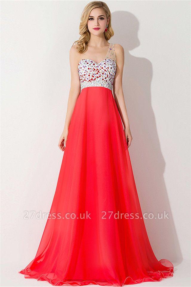 Elegant One Shoulder Crystal Prom Dress UK Floor Length