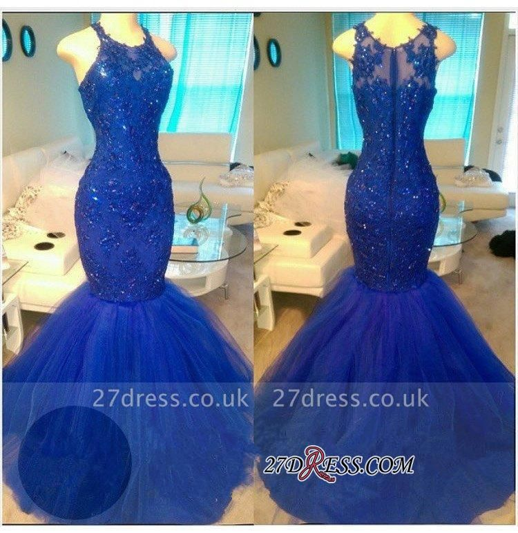 Royal-Blue Mermaid Appliques Sexy Sleeveless Tulle Beadings Evening Dress UKes UK BA6146