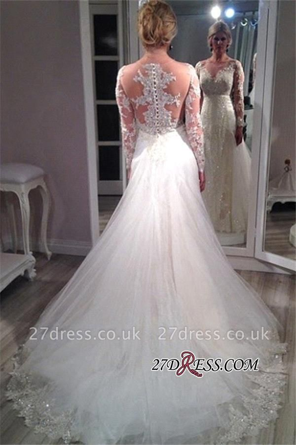 Tulle Elegant Lace Long-Sleeve Sequins Appliques Wedding Dress