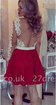 Lace Beaded Long-Sleeves Sheer Short Homecoming Dress UKes UK