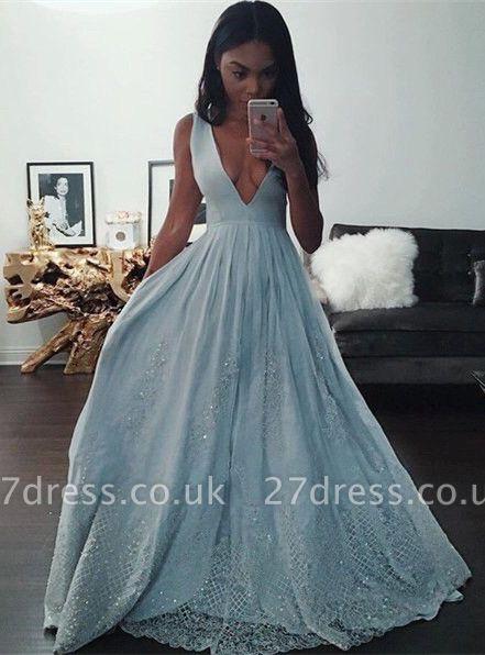 Elegant V-Neck Baby Blue Evening Dress UK Sequins Lace BA3638