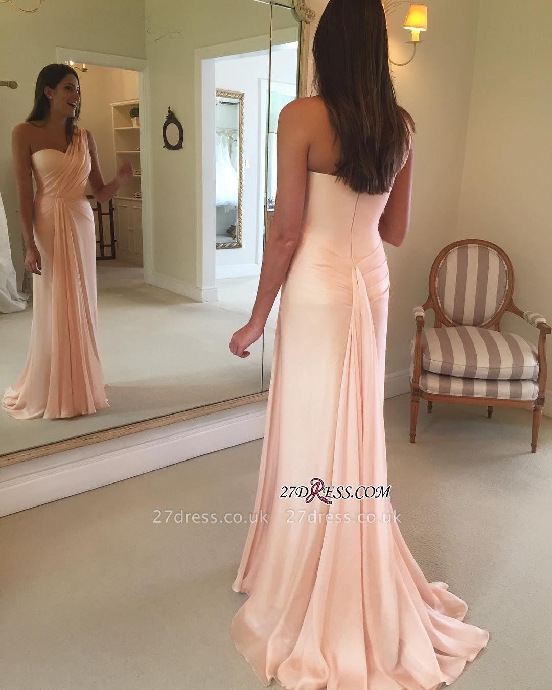 Sheath Pink One-Shoulder Ruffles Sleeveless Prom Dress UK