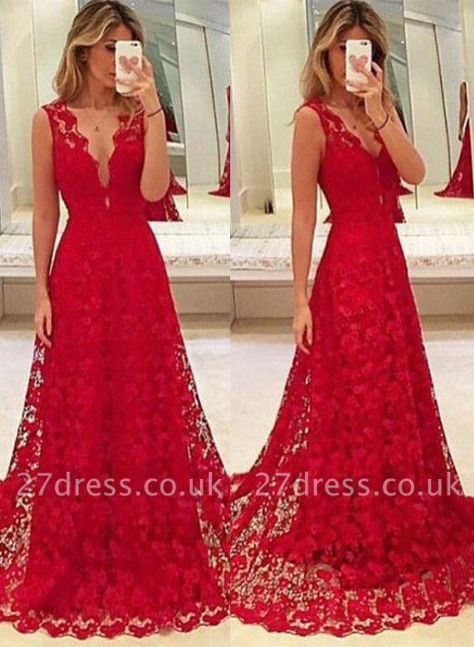Elegant Red Lace V-Neck Prom Dress UK Tulle BA3843
