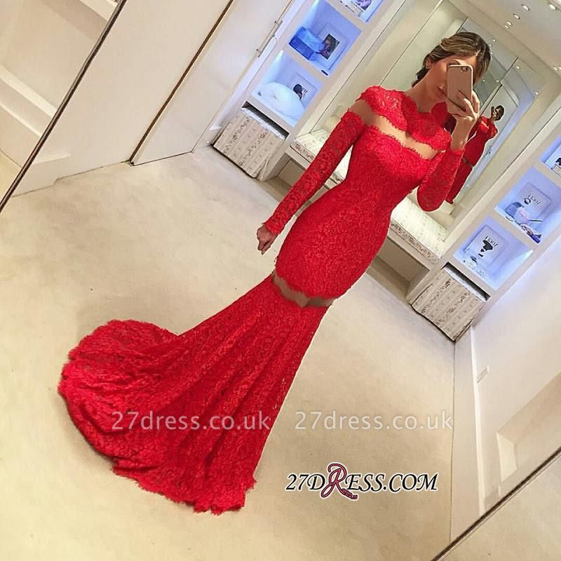 Long-Sleeve Lace Red Sweep-Train Elegant Mermaid Prom Dress UK BA4628
