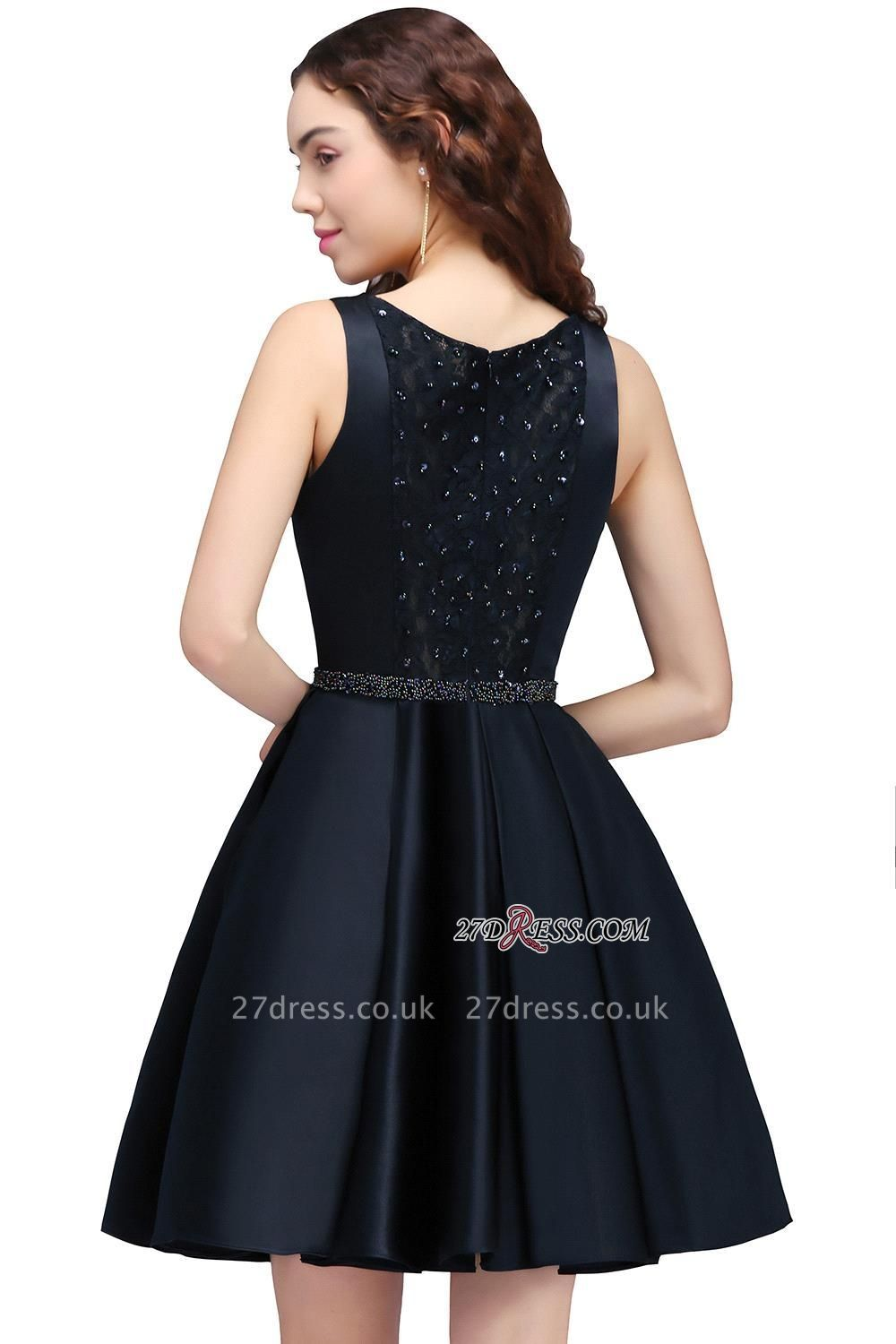 A-Line Beadings Sleeveless Sequare Black Short Homecoming Dress UKes UK