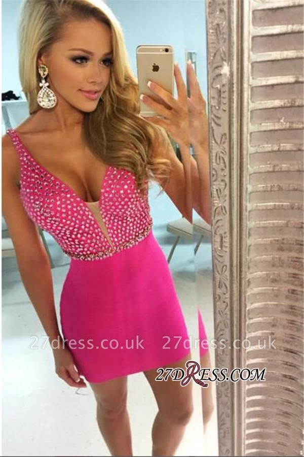 V-neck Short Homecoming Sheath Elegant Fuchsia Beaded Sexy Dress UKes UK