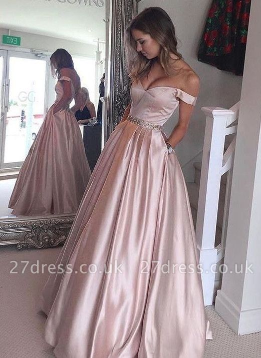 Off-the-Shoulder Beading Pockets Pearl-Pink Puffy Prom Dress UKes UK BA5008