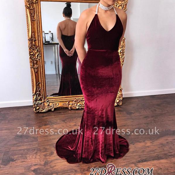 V-Neck Halter Velvet mermaid Gorgeous Evening Dress UK