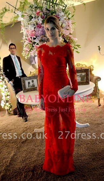 Elegant Long Red Lace Prom Dress UK Sleeves Luxury