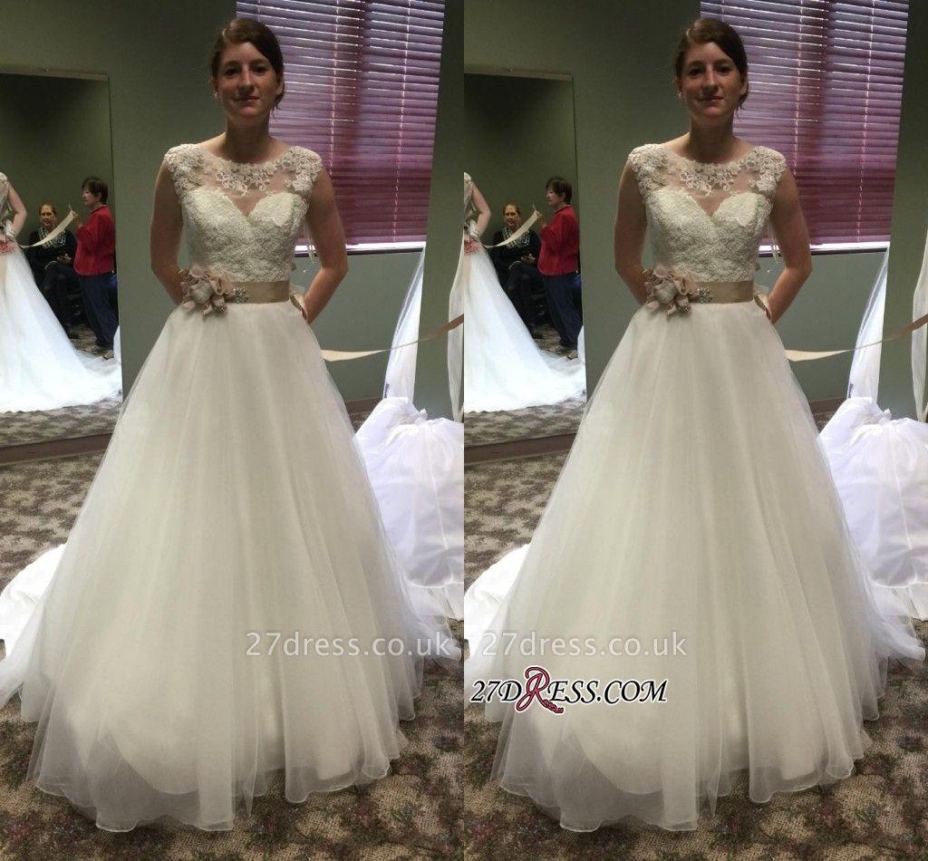 Lace Applique Princess Scoop Neckline Chic Cap-Sleeves Wedding Dresses UK Flower-Sashes