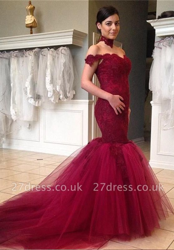 High Neck Tulle Sexy Mermaid Wedding Dress Lace Appliques Sweep Train