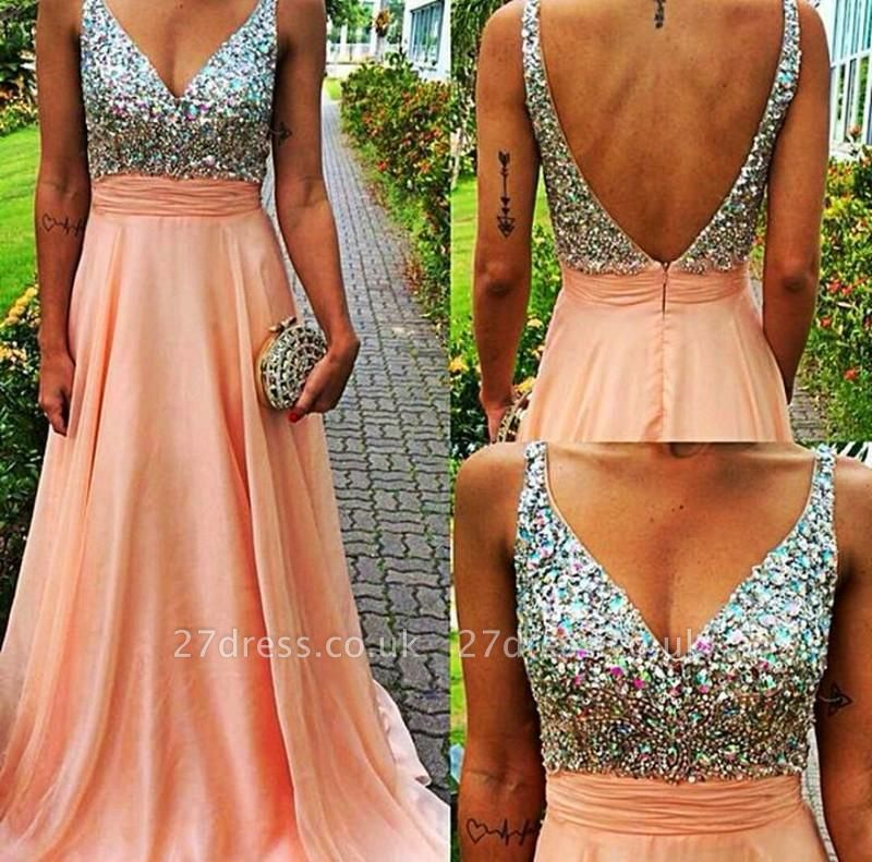 Gorgeous V-neck Sleeveless Chiffon Prom Dress UK With Crystals