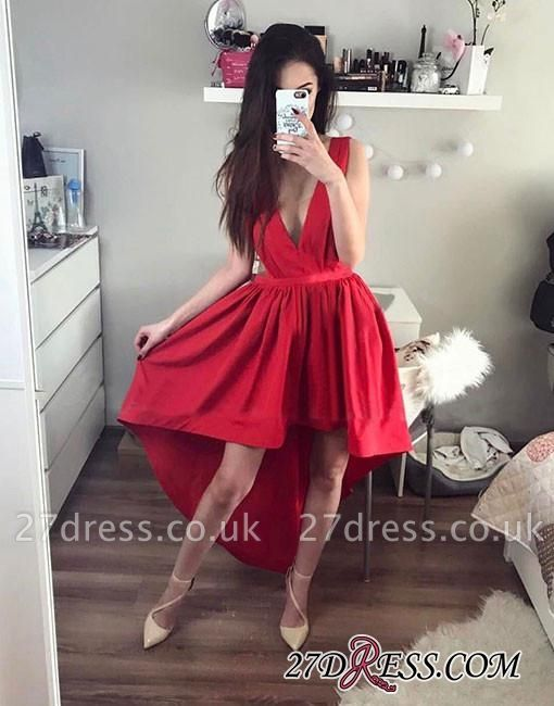 A-line Stylish V-neck Red Red High-low Evening Dress UK