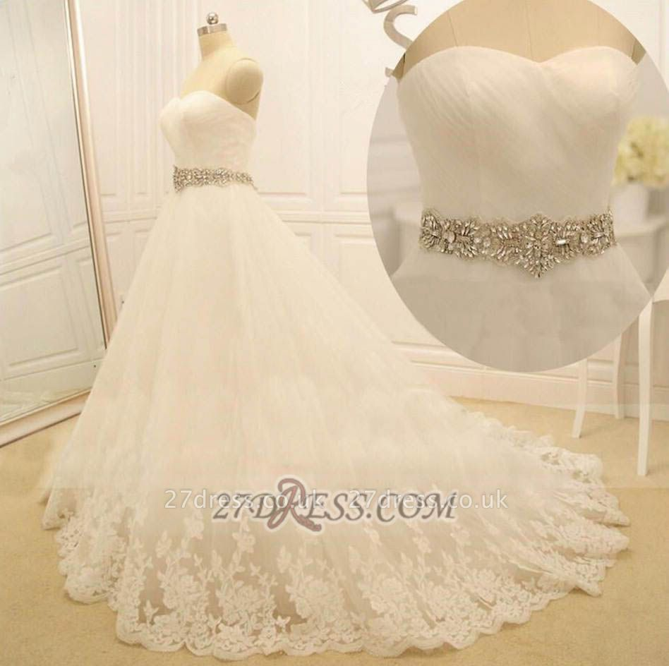 Elegant Sweetheart Sleeveless Long Wedding Dress With Beadss And Lace Appliques