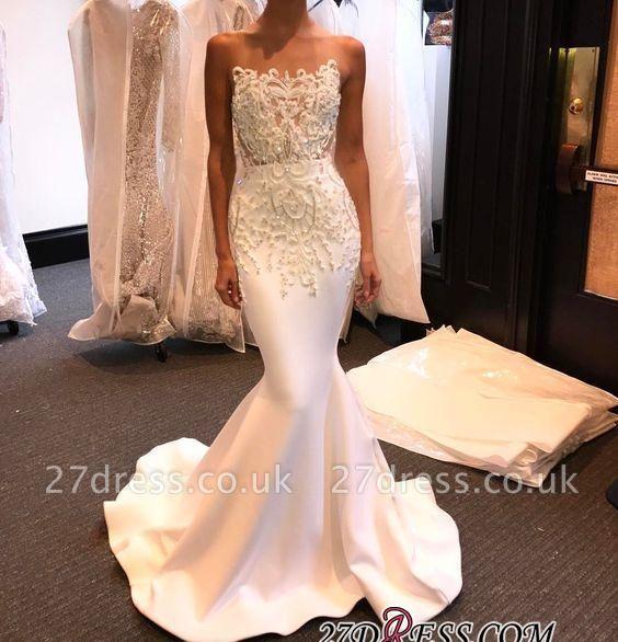 Long Mermaid Shiny White Beading Prom Dress UKes UK LY145
