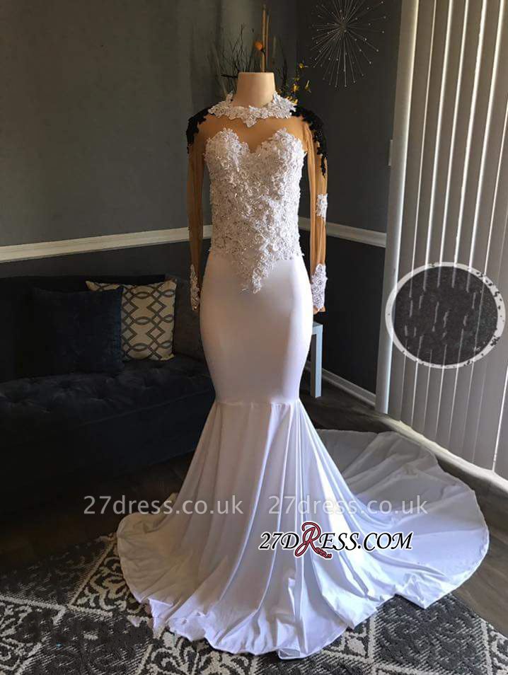 Black Long-Sleeves Lace-Appliques Mermaid White Sheer Prom Dress UKes UK