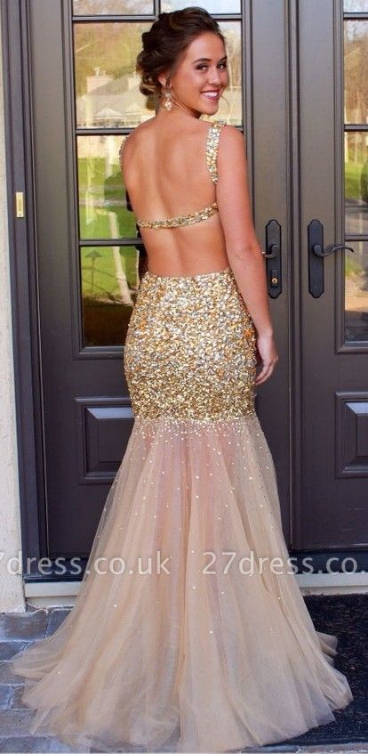 Gorgeous Sleeveless Crystal Prom Dress UKes UK Mermaid Backless Tulle Evening Dress UK
