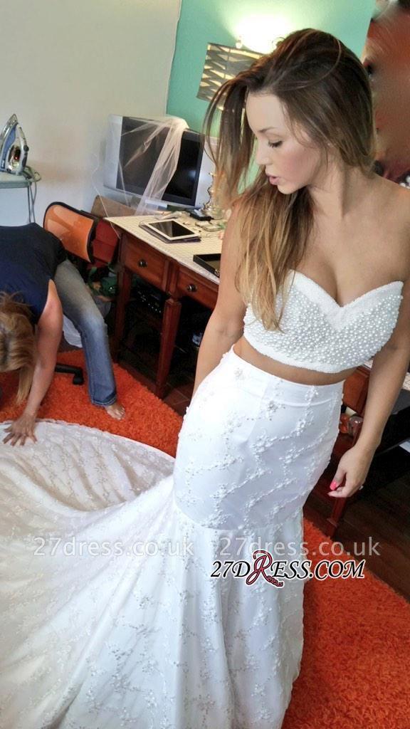 Two-Piece Beads Lace Sexy Mermaid Sweetheart Wedding Dresses UK