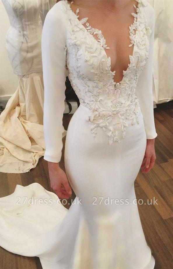 V-Neck Long Sleeve Wedding Dress | Sexy Mermaid Bridal Gowns